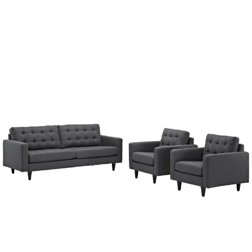 Modway Empress Mid-Century Modern Upholstered Fabric Sofa and Two Armchair Set In Gray