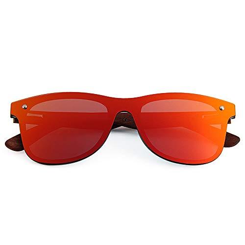 Gato Marco Aire polarizadas de Lente Sol Libre Conducción Protección Ojos Peggy TAC Gafas Piece Personalidad Pierna Vacaciones al UV400 Playa Pesca PC de Style Hombres One Gu Madera de Gafas Rojo Sol q7xIwCa