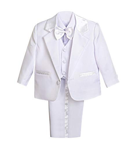 Dressy Daisy Baby Boy' 5 Pcs Set Formal Tuxedo Suits No Tail Wedding Christening Outfits Size 2-3T White