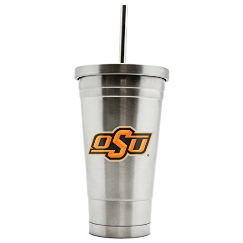 (NCAA Oklahoma State Cowboys 17oz Double Wall Stainless Steel Thermo Tumbler with Straw)