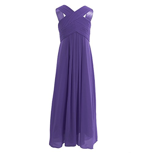 iiniim Girl's Cut Out Chiffon Pageant Party Wedding Flower Girl Dress Junior Bridesmaid Long Gowns Purple 14