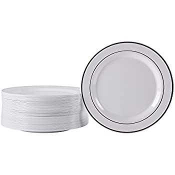 Premium Hard Plastic Silver Rimmed White Plate Set By Oasis Creations u2013 50 x 6u201d  sc 1 st  Amazon.com & Amazon.com: Premium Hard Plastic Silver Rimmed White Plate Set By ...