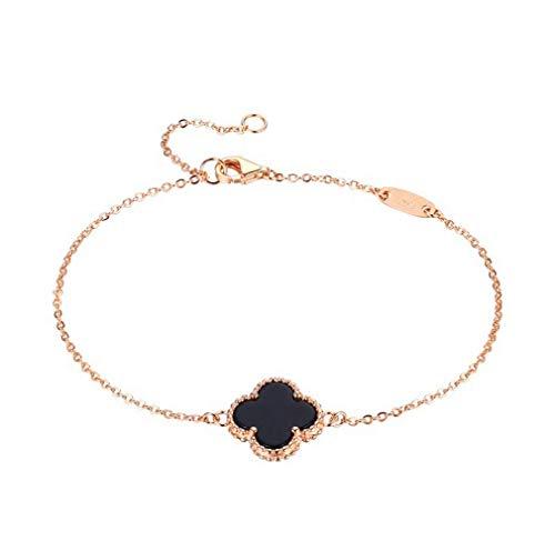 Women Black Onyx 18K Gold Plated Four-leaf Clover Bracelet/Classic Fashion Leaf Van Cleef Pearl Clover Bracelets,925 Sterling Silver 3 Color Flower Shape Malachite Pendant Bracelets -