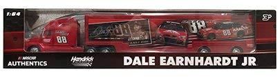 NASCAR Authentics Dale Earnhardt Jr. #88 Last Ride Hauler - Hendrick Motorsports Team Racing Hauler Transporter Semi Tractor Trailer Rig Truck 1/64 Scale - Metal Cab Plastic Trailer ()