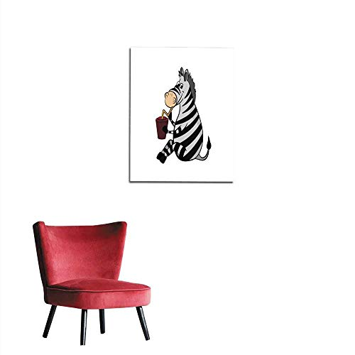 longbuyer Art Stickers Animals of Zoo Zebra Drinking from Cup in Cartoon Style Isolated Cute Character Mural 32