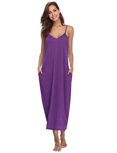 Aibrou Women's Cotton V Neck Long Nightgown Sleeveless Full Slip Night Dress (Purple, Medium)]()