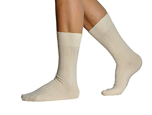 (L.Martin Pima Cotton Casual Athletic Dress Crew Socks Men 3Pairs Beige 10-11)