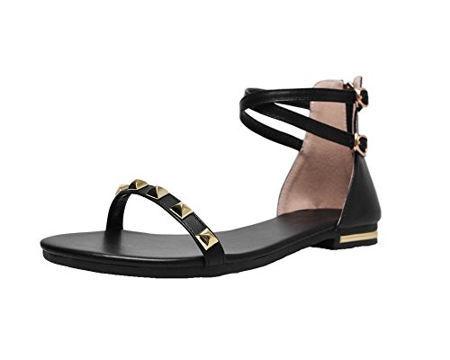 CA18LB04830 Black Solid Women's Toe Pu Zipper Open Low Heels Sandals WeenFashion xzwfPqSvv