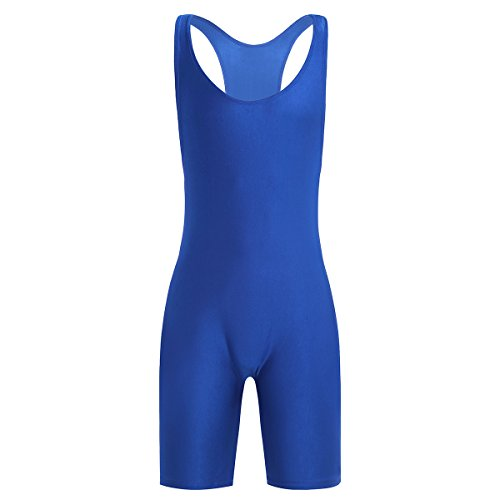 YiZYiF Men's Wrestling Singlet Softsuit with Classic Style One Piece Underwear Blue X-Large