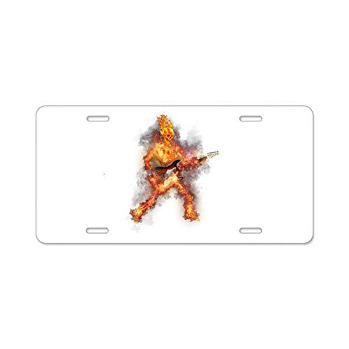 AhuiA-Fire Skeleton Guitarist Custom Personalized Aluminum Metal License Plate Cover Front Auto Car Accessories Vanity Tag- 6x12 Inches