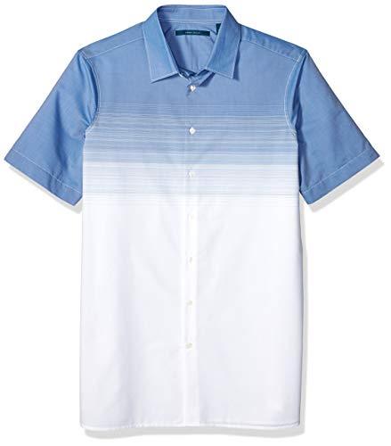Perry Ellis Men's Big and Tall Ombre Stripe Shirt, Delft, 4X Large