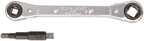 Yellow Jacket 60610 Hand, 3 16 to 3 8 Dr, 5-1 2 L Ratchet Wrench with Adapter
