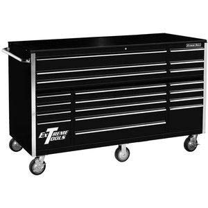 (Extreme Tools RX722519RCBK Rx Series 19 Drawer Roller Cabinet with Ball Bearing Slides, 72-Inch, Black High Gloss Powder Coat Finish)