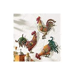 Collections-Etc French Country 12 Metal Rooster Trio, Multicolor