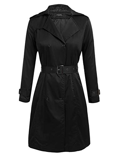 (IN'VOLAND Women's Plus Size Trench Coat Double Breasted Long Trench Coats with Belt)