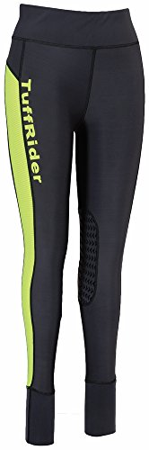TuffRider Ladies Marathon Tight | Women Horse Riding Equestrian Breeches (Charcoal/NeonYellow, Small) Tuffrider Tights
