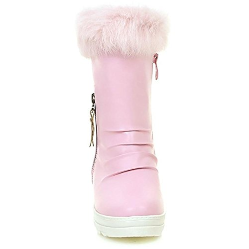 Hairy Winter SHANGXIAN calf Boot Wedge Women's nbsp;heel Mid pink boots Snow nbsp; zdq1dw