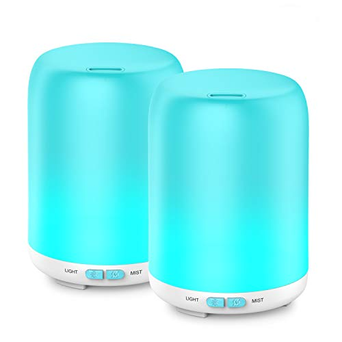 Essential Oil Diffuser, 2 Pack Aroma Diffuser Ultrasonic Cool Mist Aromatherapy with 7 LED lights, Waterless Auto Shut-off for Home Spa Baby Bedroom, 120ml by Aptoyu