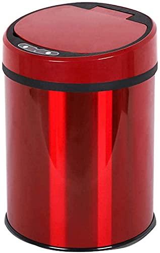 XWHAOB Roestvrij staal automatische prullenbak, touch gratis afvalbak, ronde touchless sensor prullenbak met deksel…