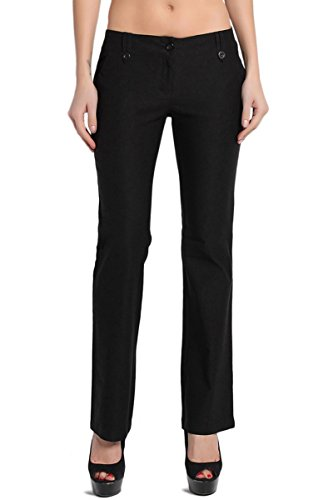 TheMogan Women's Simple Straight Bootcut Stretch Trouser Pants Black L