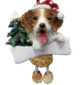 """Brittany Spaniel Ornament with Unique """"Dangling Legs"""" Hand Painted and Easily Personalized Christmas Ornament"""
