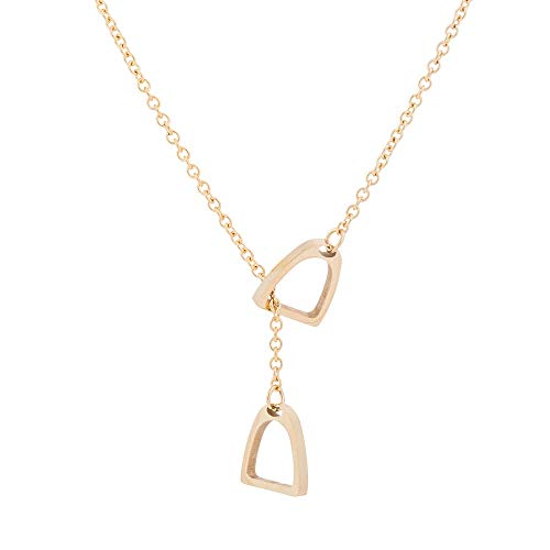 e90c0ea915f6c6 RUIZHEN Gold Silver Equestrian Double Horse Stirrup Lariat Y Necklace for  Girls (Gold)