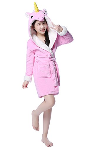 NEWCOSPLAY Kids Soft Bathrobe Unicorn Fleece Sleepwear Robes (5-7 Years, Pink Unicorn)