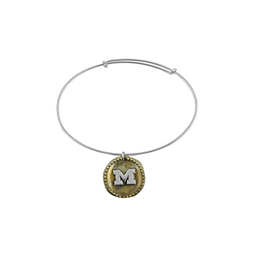(University of Michigan Wolverines Sterling Silver Jewelry by Dayna Designs (Antique Coin Adjustable)