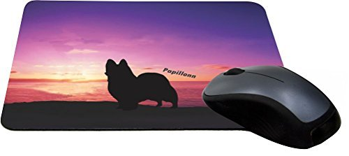 Rikki Knight Papillion Dog at Sunset Design Lightning Series Gaming Mouse Pad (MPSQ-RK-41283)