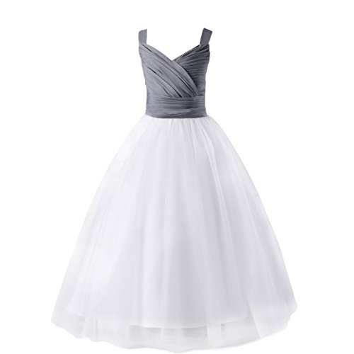 (Glamulice Girls Lace Bridesmaid Dress Long A Line Wedding Pageant Dresses Tulle Party Gown Age 3-14Y (13-14Y, V-White/Gray))