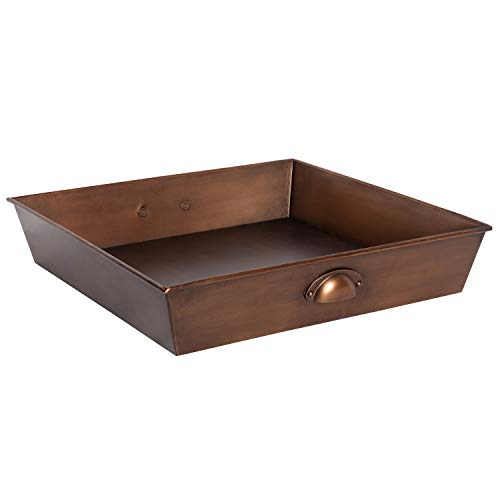 Kate and Laurel Forgeham Square Metal Tray with Handles, 18x18 Bronze