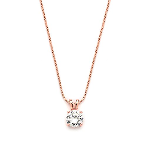 (Mariell 2 Carat Round-Cut Cubic Zirconia Crystal Rose Gold Pendant Necklace for Women, 14K Plated, 8mm CZ)
