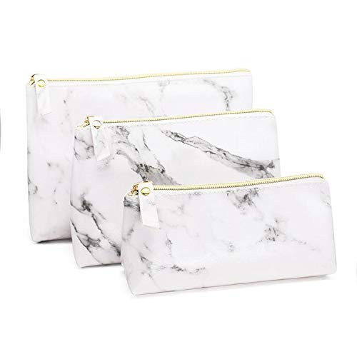 - I'll NEVER BE HER Fashion Marble Pu Leather Cosmetic Bag Storage Bag Portable Ladies Travel Square Makeup Brushes Bag,L