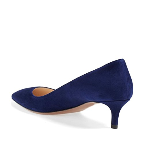 FSJ Women Sexy Pointed Toe Kitten Heel Pumps Suede Ladies Dress Shoes Size 4-15 US Blue C5E9o4AQc