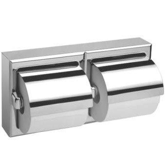 Bobrick 69997 304 Stainless Steel Surface Mounted Double Roll Toilet Tissue Dispenser with Hood, Satin Finish, 12-3/8'' Width x 6-3/16'' Height by Bobrick