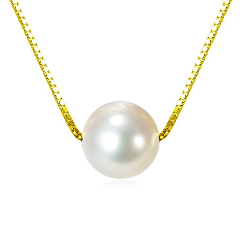 Gold over Sterling Silver Freshwater Cultured Pearl Necklace (Single Womens)