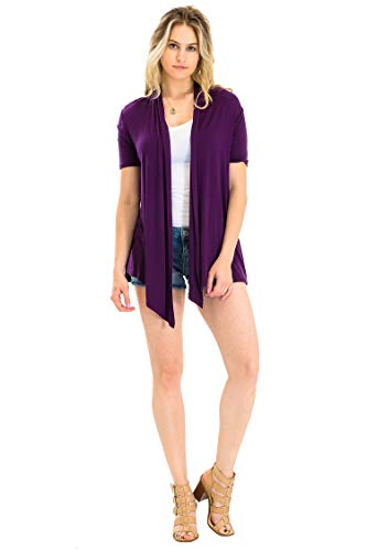 - Casual Office Work Short Sleeve Sweater Cardigan Plum S