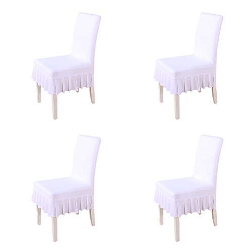 larsuyar Stretch Spandex Washable Ruffled Short Dining Chair Cover for Wedding Party Hotel (White -
