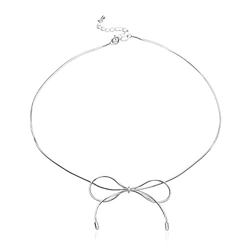 Pasuwisma 925 Silver Bow Necklace, Bowknot Pendant Necklace Choker with Extension (silver) (Pendant Silver Bow)