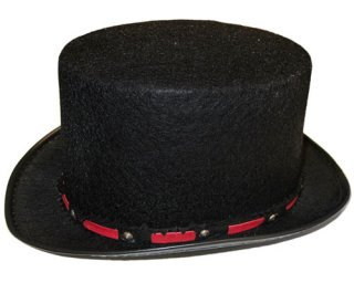 [Kids Black Tuxedo Top Hat with Silver Band] (Velvet Uncle Sam Top Hat)