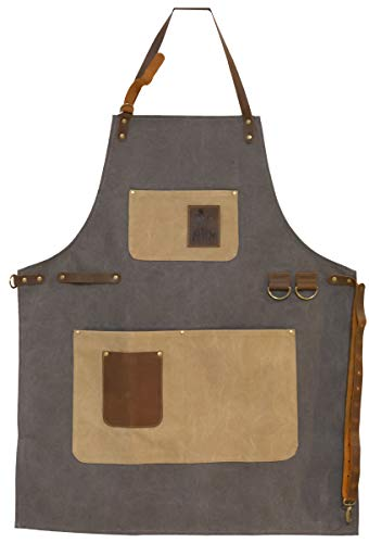 BBQ Butler BBQ Grill Apron - Adjustable Canvas Cooking Apron - BBQ Smoker Apron - Apron With Pockets - Professional Cooking Apron - Genuine Leather Pockets and Accents