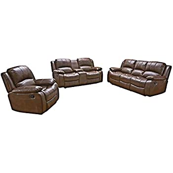 Amazon.com: FDW Recliner Sofa PU Leather Set 3 PCS Motion ...