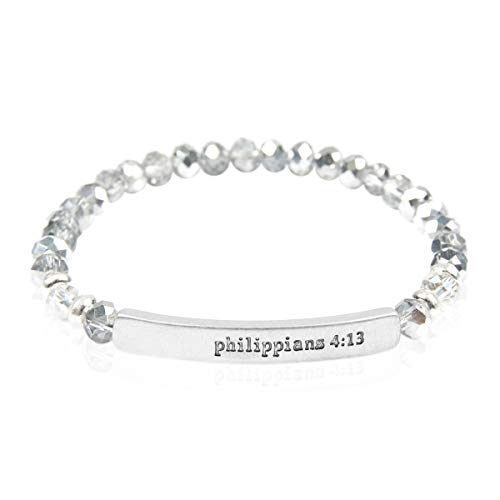 (RIAH FASHION Blessed, Amazing Grace Rondelle Beads Stretch Bracelet - Religious Engraved Message Bar Beaded Bracelets (Philippians - Silver))