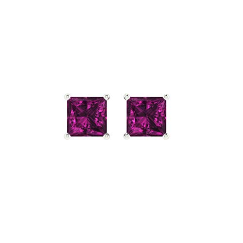Euforia Jewels 14K White Gold Top Quality Natural Rhodolite 3 MM Square Cut Stud Earrings With Silver Sillicon Post For Women