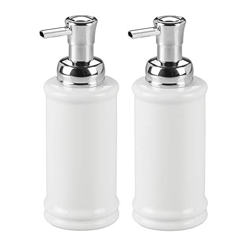 mDesign Decorative Ceramic Refillable Foaming Hand Soap Dispenser Pump Bottle for Bathroom Vanity Countertop, Kitchen Sink - Save on Soap - Vintage-Inspired, Compact Design, 2 Pack - White/Chrome ()