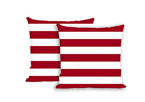 """SNH store Decorative Cotton Canvas Square Red Stripe Toss Pillowcase Cushion Cover Pillow Case with Hidden Zipper Closure Only Cover No Insert - 18""""x18""""(45x45cm) Set of 2"""