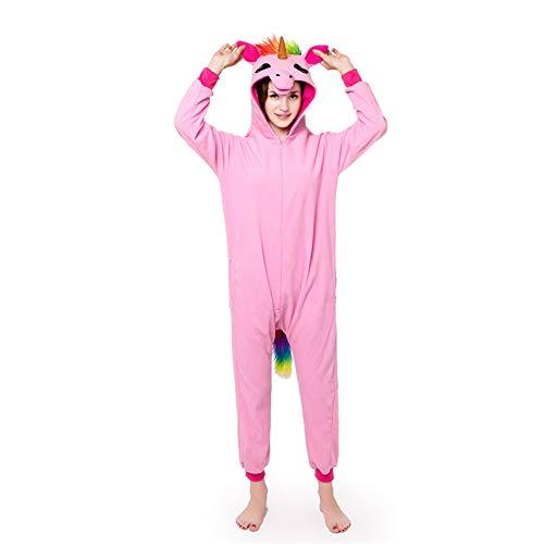 Tempatation Animal Onesies Adult Unicorn Cosplay Pajamas Unisex for Women Men,One Piece Sleepwear Costume Halloween Jumpsuit (Pink/M) ()