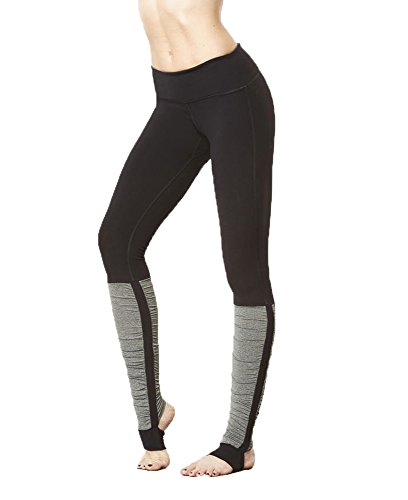 Eumerce Women's Splice Ribbed Stirrup Leggings Gym Sports Running Yoga Barre Pants (S, BLACK-GREY)