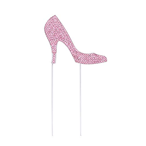 1pc High-heeled Shoes Cake Topper Glitter Alloy Rhinestone Birthday Party Cake Pick Food Decoration Supplies (Rose Gold) (Gold High Heel Cake Topper)