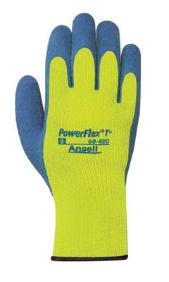 - Ansell Size 9 Blue And Hi-Viz Yellow PowerFlex® T Thermal Terry Cloth Lined Cold Weather Gloves With Knit Wrist And Natural Rubber Latex Coated Palm